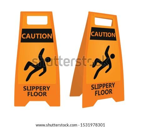 Orange slippery floor sign. vector illustration