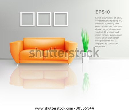 orange sofa in living space