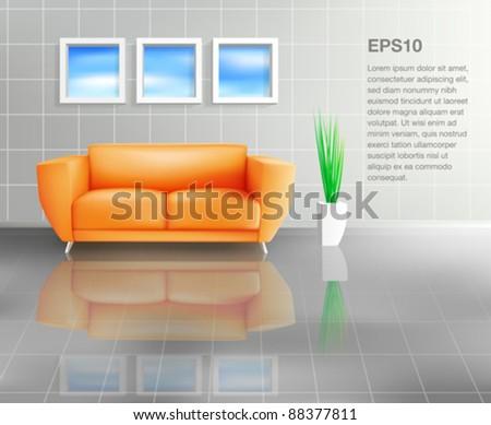 Orange Sofa In Tiled Living Space (EPS10)