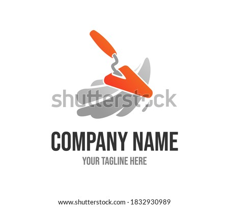 Orange spatula vector logo template for home repair service or building company. Illustration of red plastering trowel. Masonry creative icon concept. Plasterer tool vector design. Brick construction. ストックフォト ©