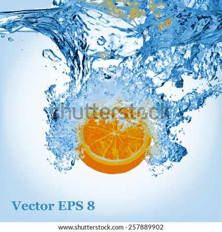 Orange splash in water, vector eps 8