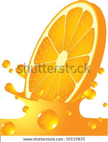 Orange splash. Vector.