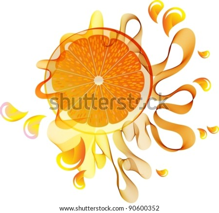 Orange splash with abstract wave, vector, eps10