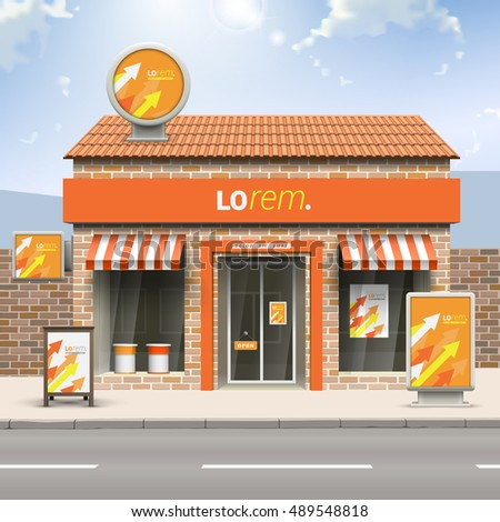 Orange store design with red, yellow and white arrows. Elements of outdoor advertising. Corporate identity