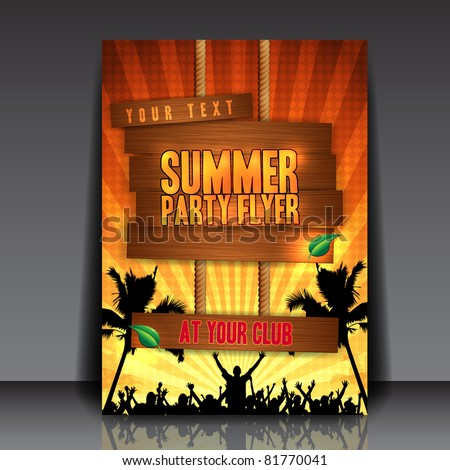 Orange Summer Party Flyer Design - EPS10 Vector Illustration
