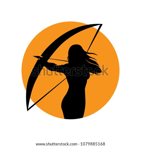 orange sun and woman archer