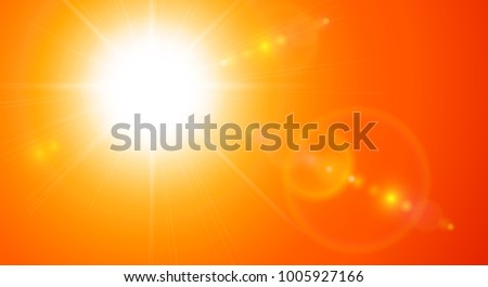 Orange sunny background, sun with lens flare, vector illustration
