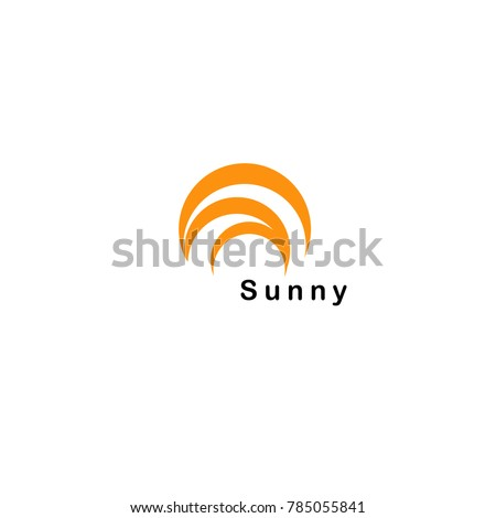 Orange sunny semicircle, abstract isolated arc shape, orange color vector logo.
