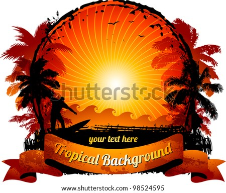 Orange sunset surfing beach banner - stock vector