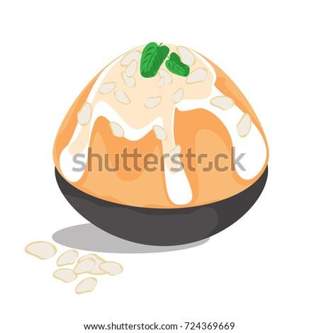 Orange tea bingsu korean dessert,Thai tea bingsu korean dessert