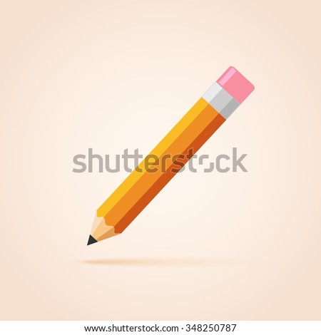 Orange thick pencil with eraser.