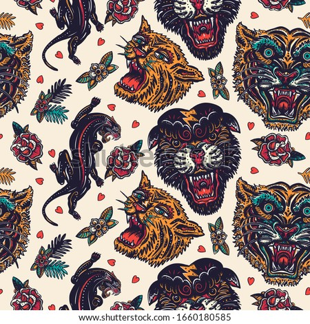 Orange tigers and black panthers seamless pattern. Old school tattoo. Asian wild cats heads. Traditional tattooing, japan art