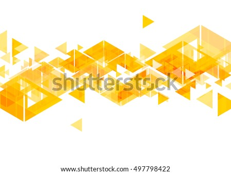 Orange triangles abstract geometric design. Vector bright background