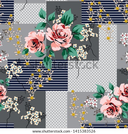 orange vector flowers with leaves pattern on retro background