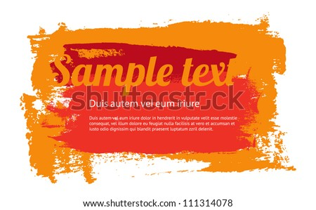 Orange vector painted grungy banner / badge / background