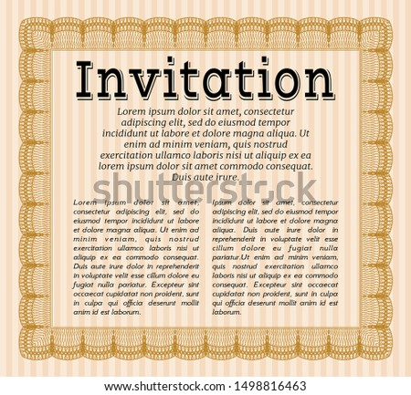 Orange Vintage invitation. Nice design. With great quality guilloche pattern. Customizable, Easy to edit and change colors.
