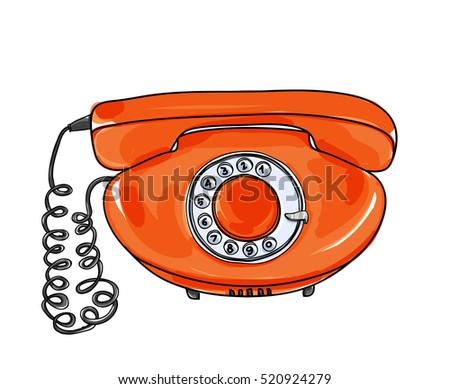 orange vintage telephone vector