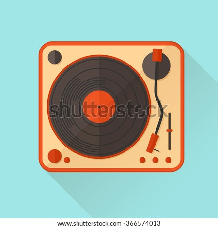 orange vinyl turntable vector