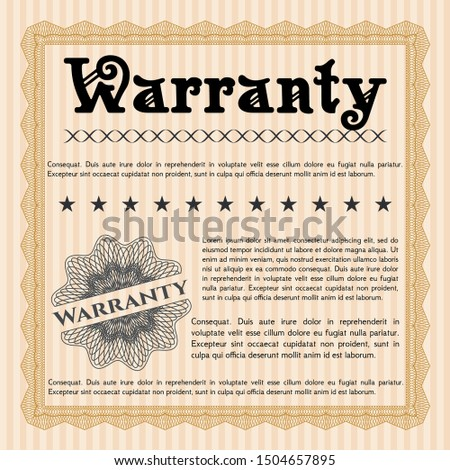 Orange Warranty. With complex linear background. Cordial design. Customizable, Easy to edit and change colors.