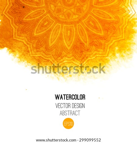 Orange watercolor brush wash with pattern - round tribal elements. Vector ethnic design in boho style.