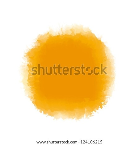 Orange watercolor paint in round shape  for background accent or design element