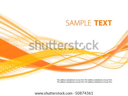 Orange wavy template. Vector