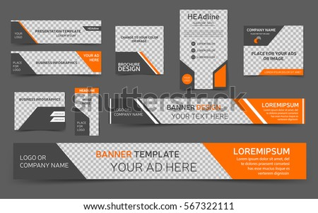 Orange web banners. Collection templates for webpages. Vector, eps10.