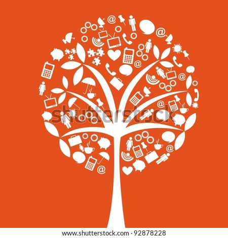 orange web elements, tree conceptual. vector illustration