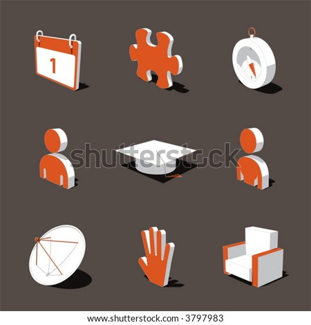 orange white 3d icon set 05