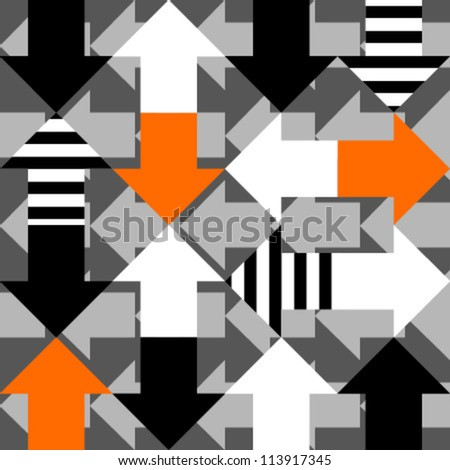 orange white striped arrows on grey arrows seamless pattern