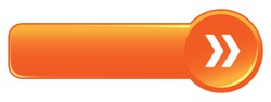 Orange wide vector web button with arrows