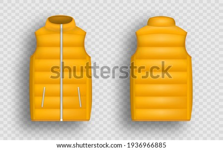 Orange winter puffer vest, sleeveless jacket mockup set, vector illustration isolated on transparent background. Realistic warm waistcoat, down padded vest template, front and back view. Stock photo ©
