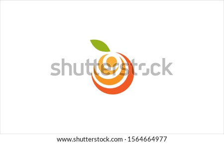 orange with leaf logo in a