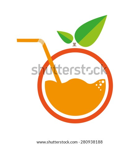 Orange with Straw Logo. Flat Minimalism Artwork