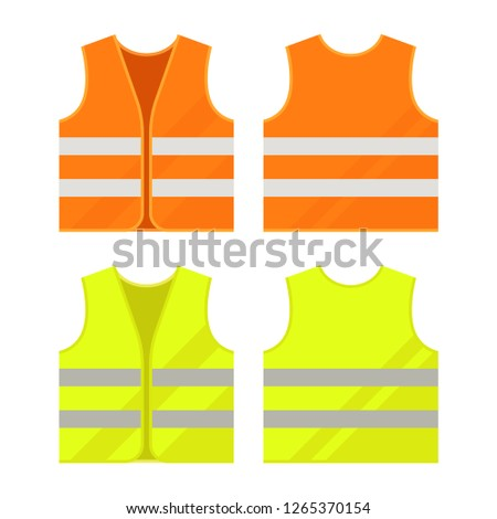 Orange, yellow reflective safety vest. Vector, isolated. Foto stock ©