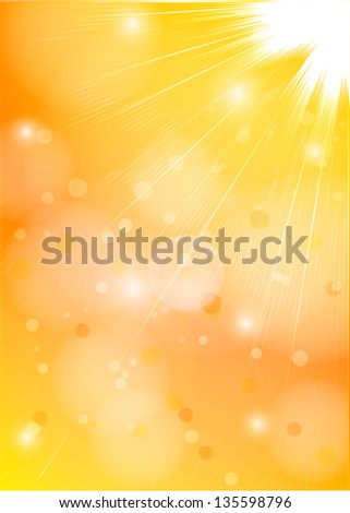 Orange-yellow sunlight. Vector background