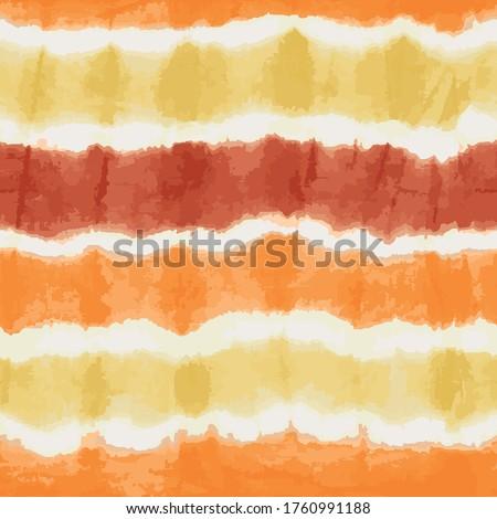 Orange yellow tie dye stripes seamless vector pattern. Textured japanese shibori background. Modern batik watercolor backdrop for fabric, wallpaper, scrapbooking projects, swimmwear. Surface pattern