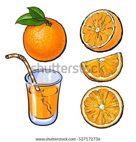 oranges and a glass of freshly