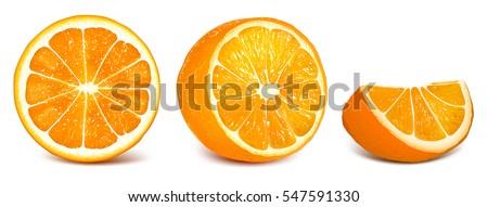 Oranges: orange slice, half cut orange and front view of cut ripe orange. Set of vector illustration. Fully editable handmade mesh.