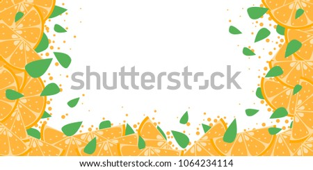 oranges with small leaves frame