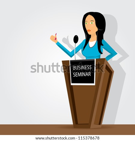 Orator and speech wooden podium . Business vector background.
