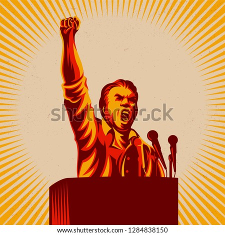 Orator speak from tribune with his hand raised in the air vector illustration. Revolution public statement. Political protest activism.