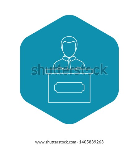 Orator speaking from tribune icon. Outline illustration of orator speaking from tribune vector icon for web