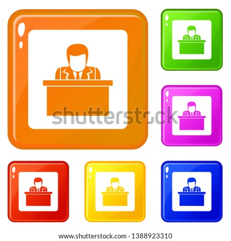 Orator speaking from tribune icons set collection vector 6 color isolated on white background