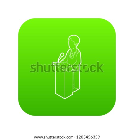 Orator speaking from tribune. Outline illustration of orator speaking from tribune vector icon green vector isolated on white background
