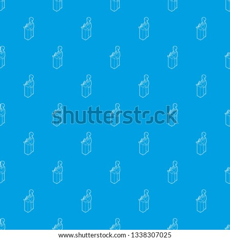 Orator speaking from tribune. Outline illustration of orator speaking from tribune vector pattern vector seamless blue repeat for any use