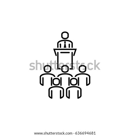 Orator speaking from tribune. Politician speaks to an audience outline vector icon.