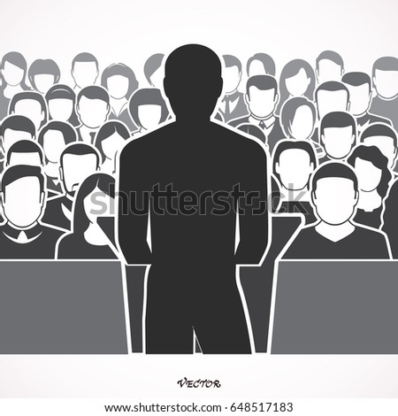 orator speaking from tribune. public speaker and crowd. vector illustration in flat style