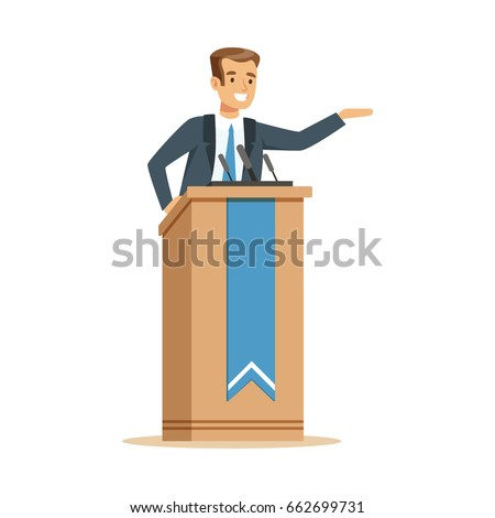 Orator speaking from tribune, public speaker character vector Illustration