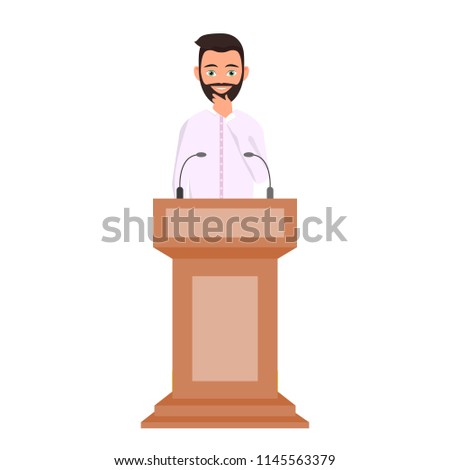 Orator speaking from tribune, public speaker character vector Illustration. A man in a white shirt is standing behind the podium